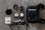 Olympus OM-D E-M5 Mark II Silver Camera Body + 2 Olympus M Zuiko Lenses + Lowepro bag NEAR NEW
